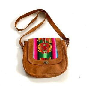 Vintage Brown Suede Embroidered Boho Crossbody Bag